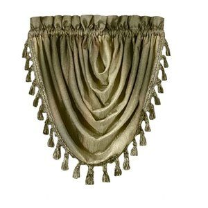 Achim Ombre Waterfall Valance Curtain Tassels 2pc